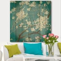 Designart 'Blue Cherry Blossoms II' Cabin & Lodge Print on Natural Pine Wood - Blue