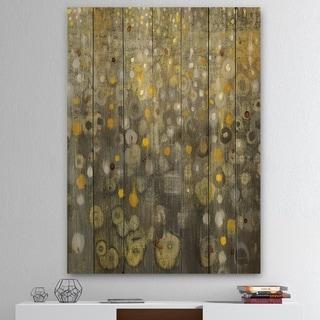 Designart 'Rain Abstract V' Modern Glam Print on Natural Pine Wood - Grey