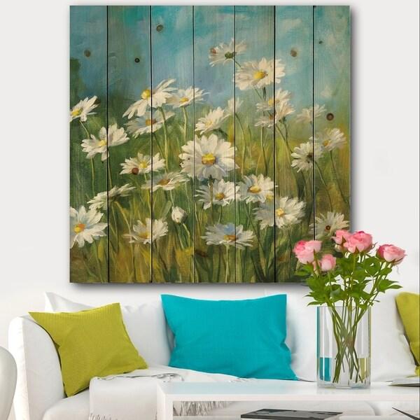 Designart 'Summer Field II' Traditional Print on Natural Pine Wood - Blue