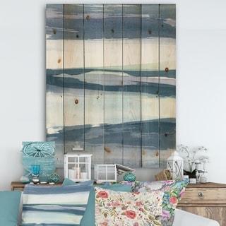 Designart 'Mint Indigo Dawn II' Farmhouse Print on Natural Pine Wood - Blue