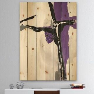 Designart 'Glam Cerulean I' Transitional Print on Natural Pine Wood - Purple