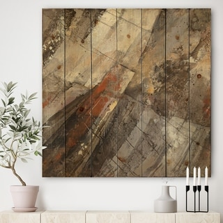 Designart 'Fire and Ice Minerals III' Farmhouse Print on Natural Pine Wood - Grey