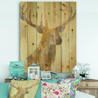 Designart 'Golden Deer I' Modern Farmhouse Print on Natural Pine Wood - Brown