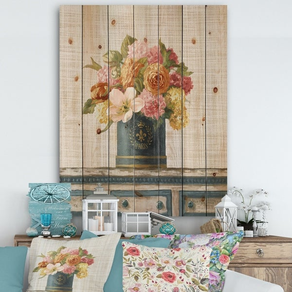 Designart 'Tulips in Teal and Gold Hatbox on Linen' Cabin & Lodge Print on Natural Pine Wood - Multi-color