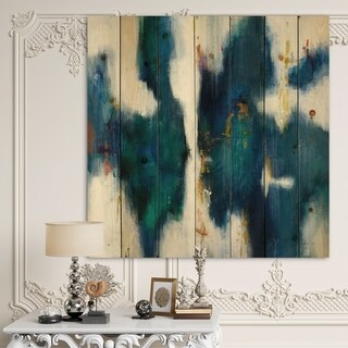Designart 'Blue Glam Texture I' Contemporary Print on Natural Pine Wood - Blue
