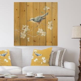 Designart 'Gold Bird on Blossoms II' Farmhouse Print on Natural Pine Wood - Grey