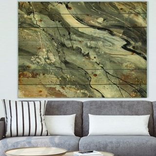 Designart 'Fire and Ice Minerals V' Modern & Contemporary Print on Natural Pine Wood - Grey