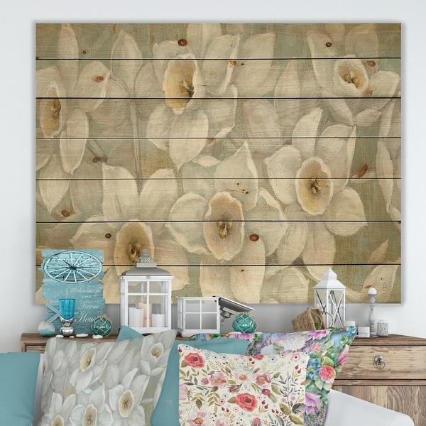 Designart 'Pure Pastel White flowers' Farmhouse Print on Natural Pine Wood