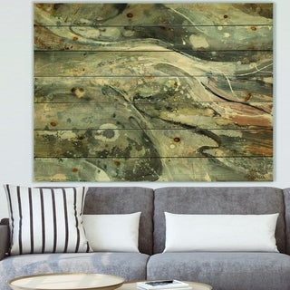 Designart 'Fire and Ice Minerals VI' Modern & Contemporary Print on Natural Pine Wood - Grey
