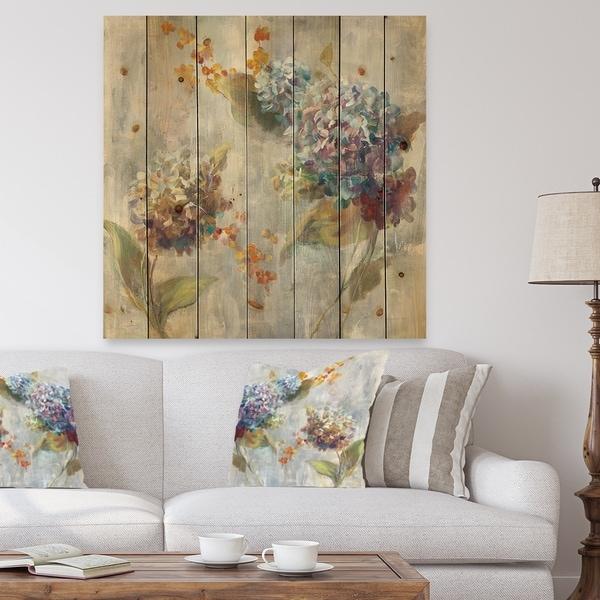 Designart 'Autumn Hydrangea' Traditional Print on Natural Pine Wood - Multi-color