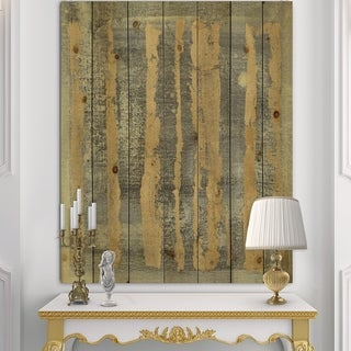 Designart 'Glam Metallic Form IV' Modern & Transitional Print on Natural Pine Wood - Grey