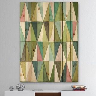 Designart 'Mixed Green Geometric Pattern II' Transitional Print on Natural Pine Wood - Blue
