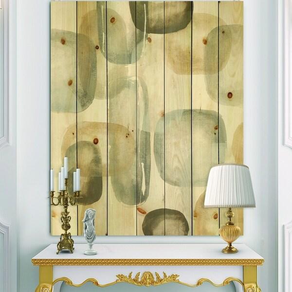 Designart 'Neutral Oval Grey Stones I' Modern Glam Print on Natural Pine Wood