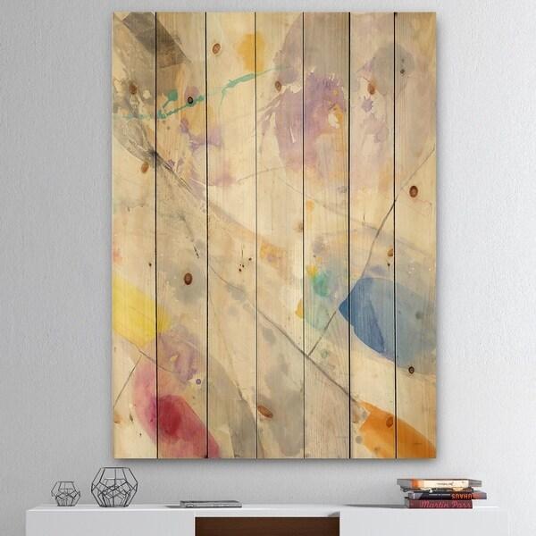 Designart 'Spring Minimalist Confetti I' Modern & Contemporary Print on Natural Pine Wood - Multi-color