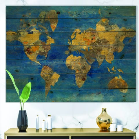 Designart 'Golden Glam World Map' Traditional Print on Natural Pine Wood - Blue