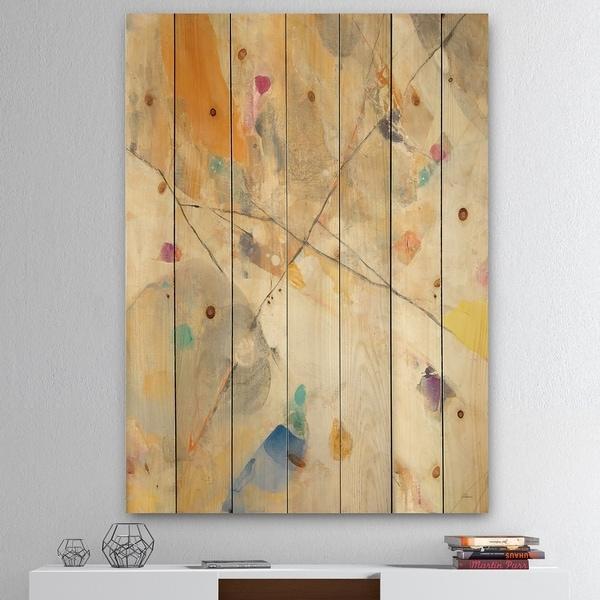 Designart 'Spring Minimalist Confetti II' Modern & Contemporary Print on Natural Pine Wood - Multi-color