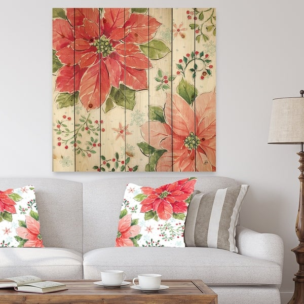Designart 'Country Flower snowflakes III' Farmhouse Print on Natural Pine Wood - Red