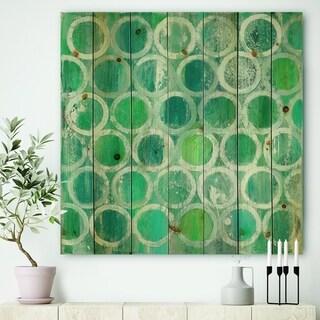 Designart 'Natural Blue Circle' Modern & Contemporary Print on Natural Pine Wood