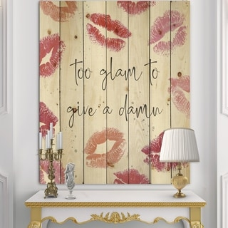 Designart 'Glam Chic Accents VII' Fashion Print on Natural Pine Wood - Red