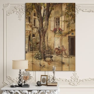 Designart 'Provence French Village I' French Country Print on Natural Pine Wood - Grey