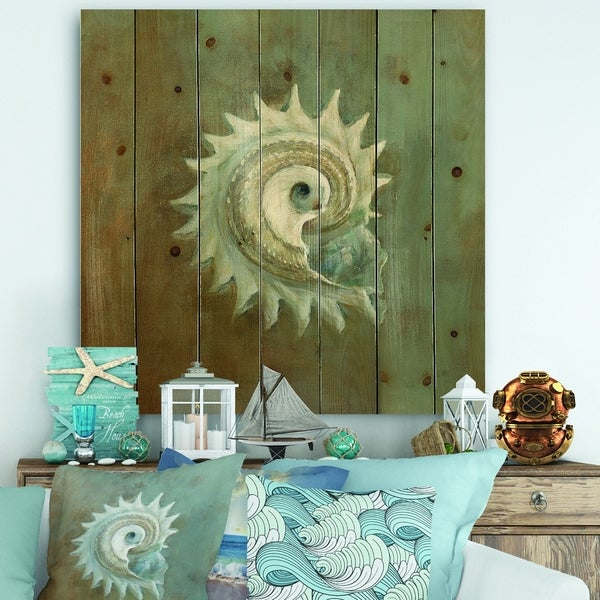 Designart 'Seashell Treasures from the Sea III' Nautical & Coastal Print on Natural Pine Wood - Blue