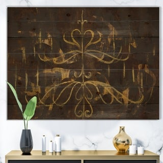 Designart 'Glam Gold Chandelier' Modern Glam Print on Natural Pine Wood - Black