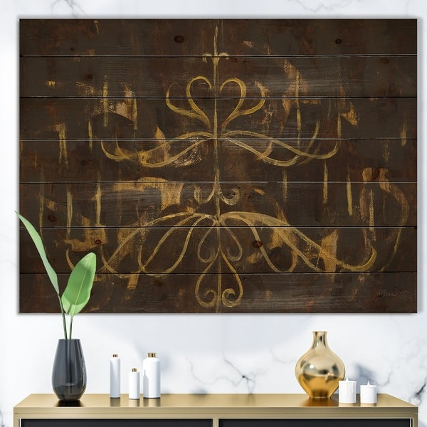 Designart 'Glam Gold Chandelier' Modern Glam Print on Natural Pine Wood - Black