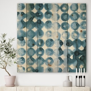 Designart 'Indigo watercolor geometrical VI ' Contemporary Print on Natural Pine Wood - Blue/White