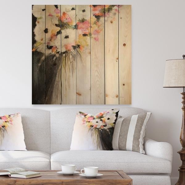 Designart 'Pink Pastel Flowers' Farmhouse Print on Natural Pine Wood - Pink/White