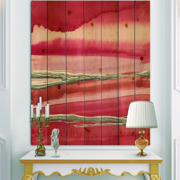 Designart 'Metallic Glam on Red' Modern Glam Print on Natural Pine Wood - Red