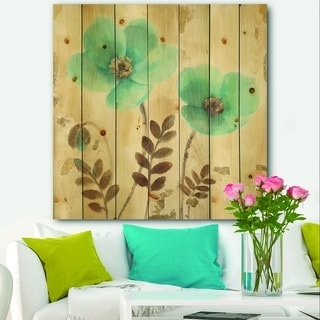 Designart 'Blue Poppies Cottage Flowers I' Farmhouse Print on Natural Pine Wood - Blue/Brown
