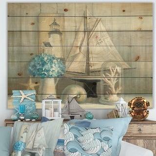 Designart 'Summer Nautical House' Nautical & Coastal Print on Natural Pine Wood - Blue
