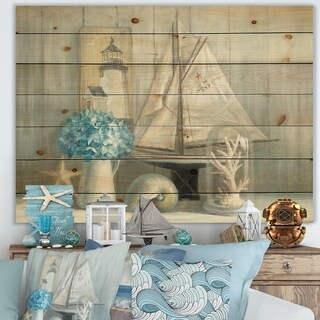 Designart 'Summer Nautical House' Nautical & Coastal Print on Natural Pine Wood - Blue