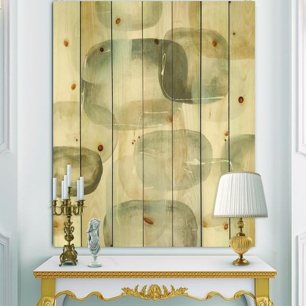 Designart 'Neutral Oval Grey Stones II' Modern Glam Print on Natural Pine Wood