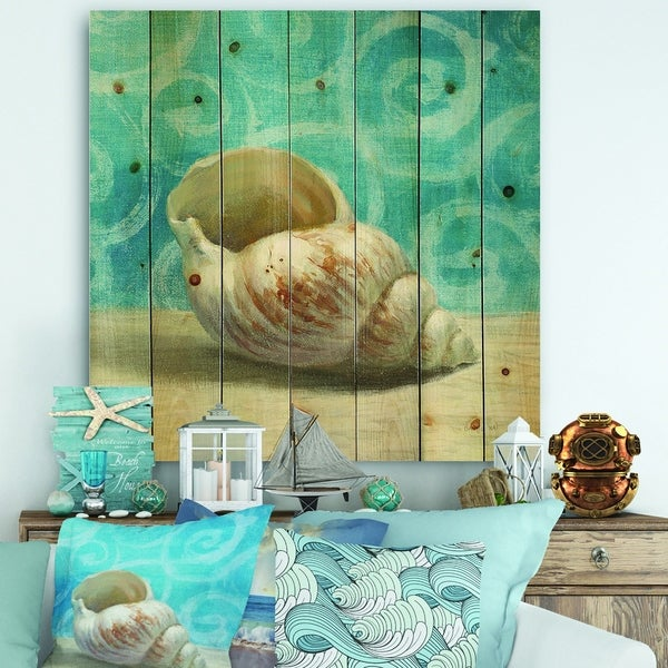 Designart 'Composition from the Sea IV' Nautical & Coastal Print on Natural Pine Wood - Blue