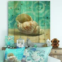 Designart 'Composition from the Sea IV' Nautical & Coastal Print on Natural Pine Wood - Blue