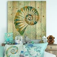 Designart 'Spiral Shell Hand Painted' Nautical & Coastal Print on Natural Pine Wood - Blue