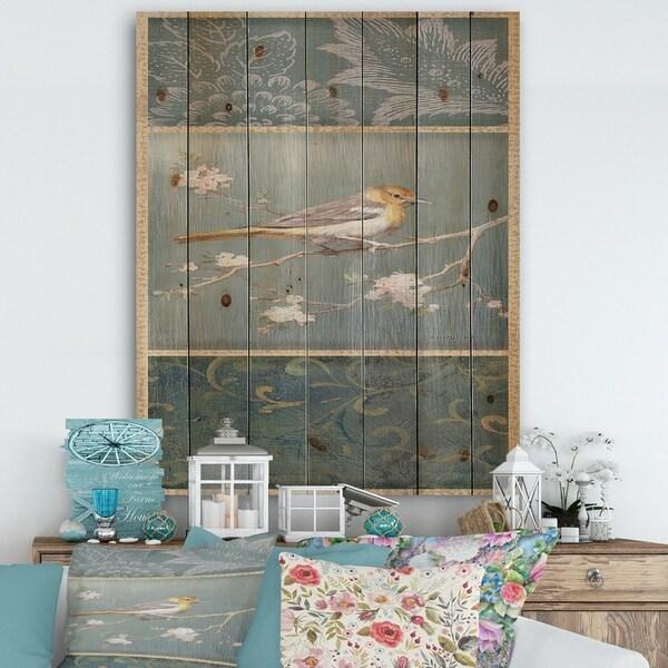 Designart 'Farmhouse Triptych of Blue Ornaments And Oriole' Farmhouse Print on Natural Pine Wood - Grey