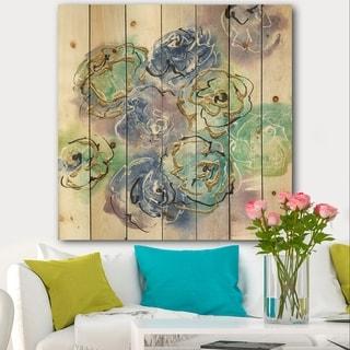 Designart 'Pastel Foral Composition II' Cabin & Lodge Print on Natural Pine Wood - Blue