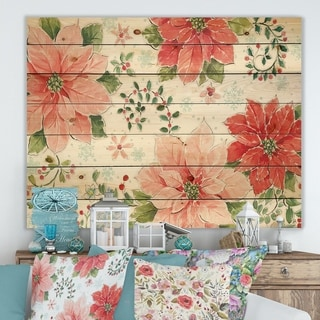Designart 'Country Flower snowflakes I' Farmhouse Print on Natural Pine Wood - Pink/Red