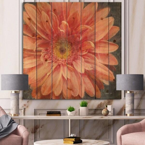 Designart 'Vivid Orange Daisy II' Shabby Chic Print on Natural Pine Wood - Pink