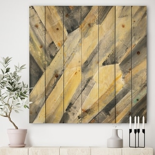 Designart 'Geometric Beige Glacier' Modern Farmhouse Print on Natural Pine Wood - Grey