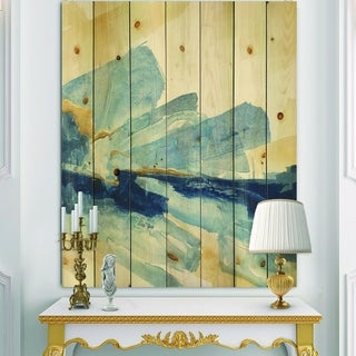 Designart 'Metallic Gold Indigo I' Modern Glam Print on Natural Pine Wood - Blue