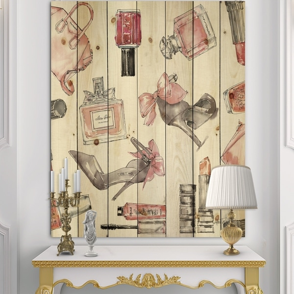 Designart 'Glam Chic Accents Pattern I' Fashion Print on Natural Pine Wood - Multi-color