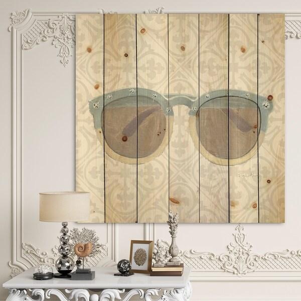 Designart 'Glam cosmetics Blue Sun Glasses' Posh & Luxe Print on Natural Pine Wood - Grey