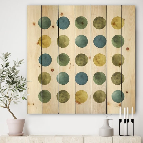 Designart 'Green Tones Geometric Circles' Mid-Century Modern Print on Natural Pine Wood - Multi-color