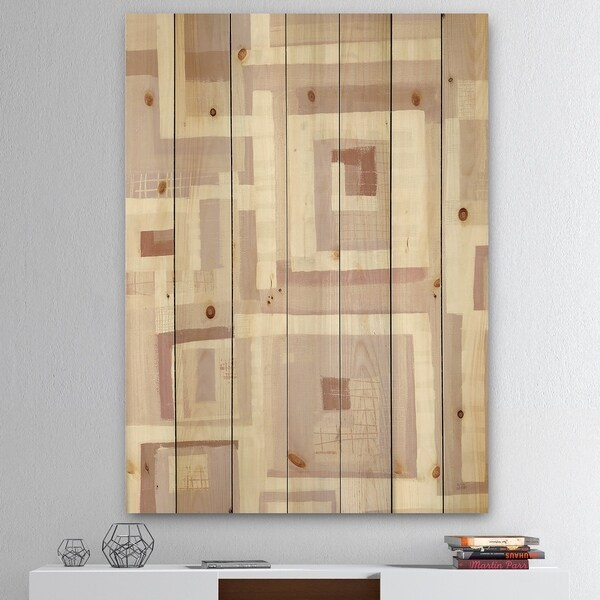 Designart 'Pink Geometric Form Windows I' Transitional Print on Natural Pine Wood - Grey
