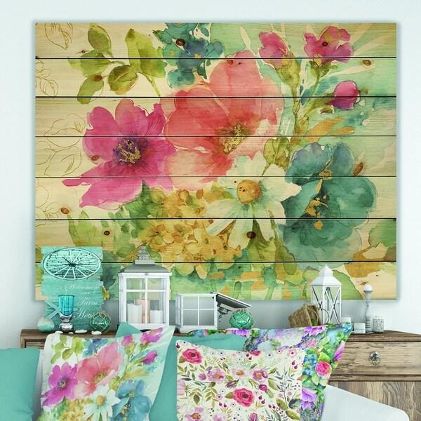 Designart 'My French Garden' Farmhouse Print on Natural Pine Wood - Blue/Pink