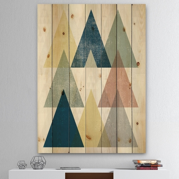Designart 'Geometrical Composition Triangles II' Modern & Transitional Print on Natural Pine Wood - Multi-color
