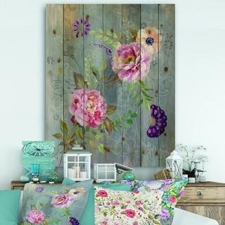 Designart 'Peonies and Paisley' Cabin & Lodge Print on Natural Pine Wood - Grey/Pink